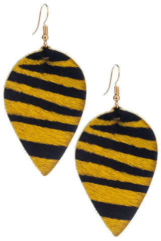 Golden Tiger Print Earrings