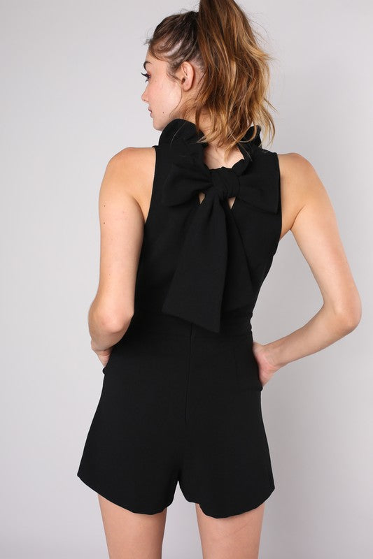 Black Tie Back Detail Romper