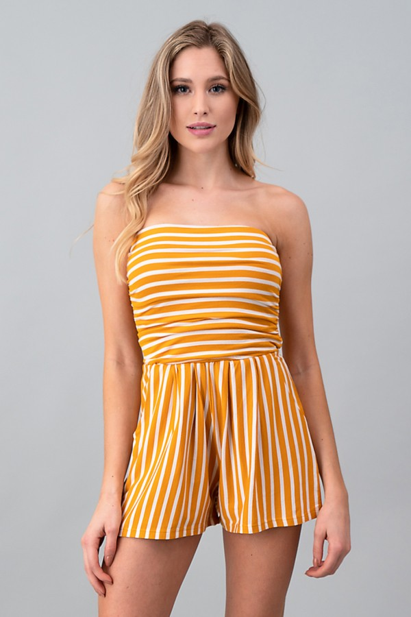 Simple Stripe Mustard Romper