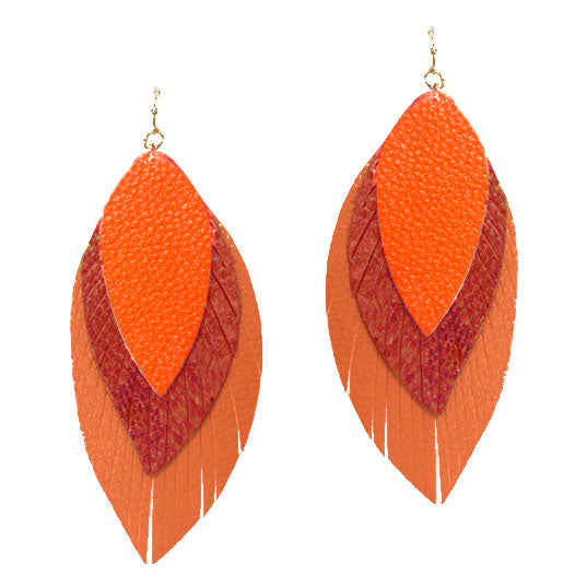 Triple the Fun Leather Drop Earrings