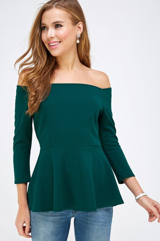 Hunter Green Off the Shoulder Peplum Top