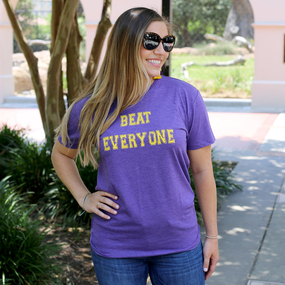 """Beat Everyone"" Purple V-Neck Tee"