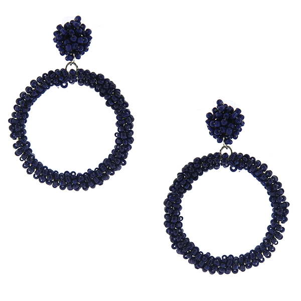 Navy Beaded Hoop Drop Earrings