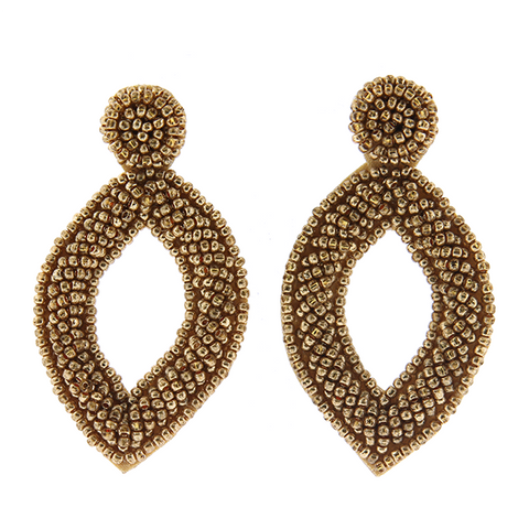Gold Teardrop Beaded Earrings