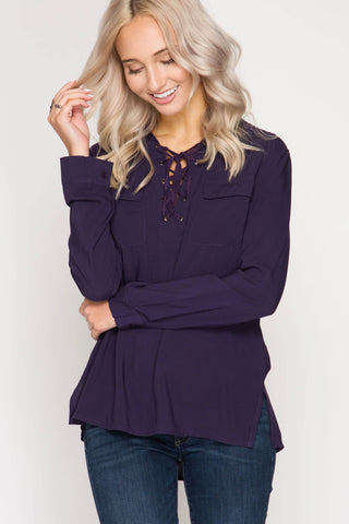 Deep Plum Lace-Up Detail Top with Pocket