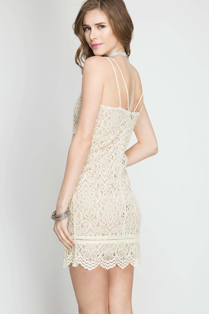 Ivory Lace Overlay Strap Detail Dress