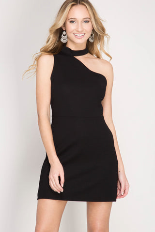 Black One Shoulder Choker Detail Dress