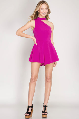 Magenta One Shoulder Romper