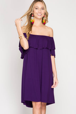 Purple Ruffle Off the Shoulder Dress