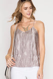 Rose Mocha Metallic Pleated Cami