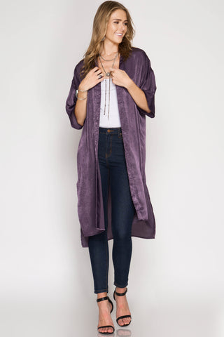 Dusty Purple Long Cardigan
