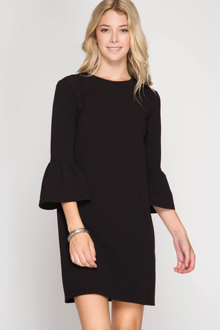 Black Ruffle Sleeve Shift Dress