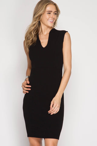 Black High Neck Pencil Dress