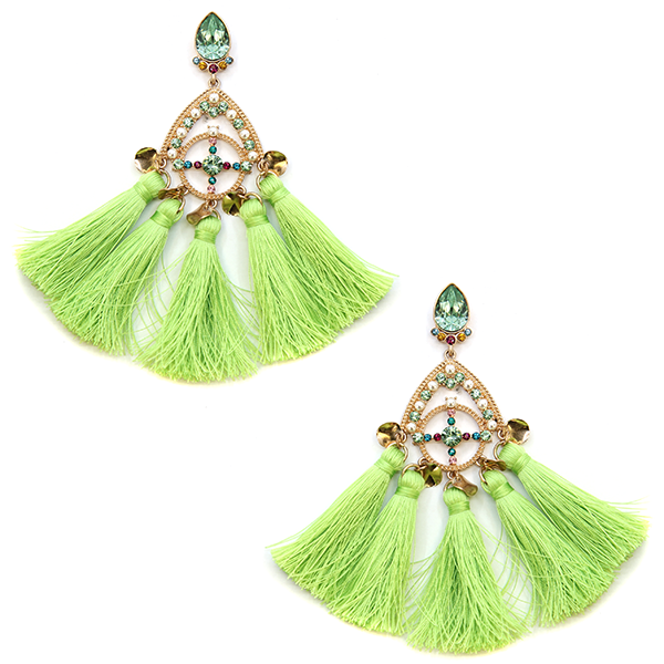 Totally Tassel Rhinestone Earrings