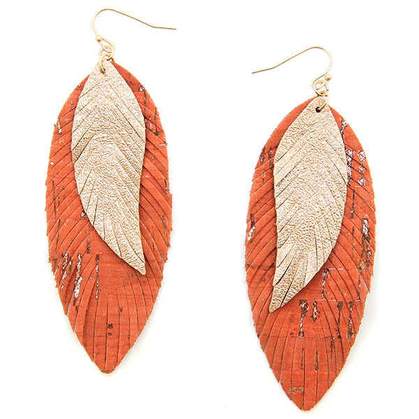 Double Layer Orange Leather Drop Earrings