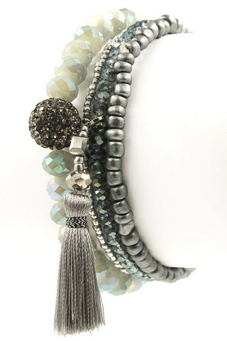 Green Pave Ball Tassel Stretch Stack