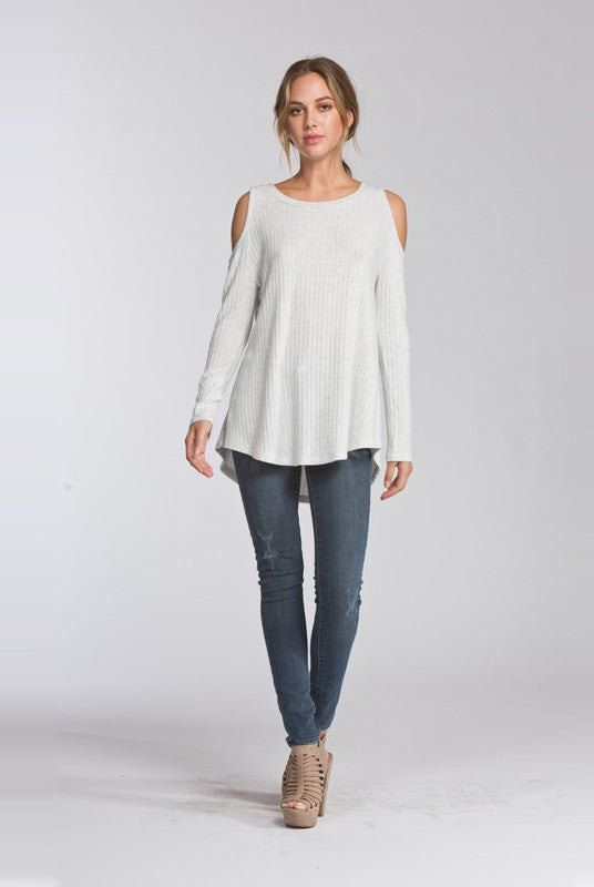 Heather Ivory Cold Shoulder Top