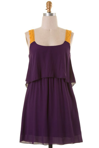 Purple Gold Lace Strap Dress