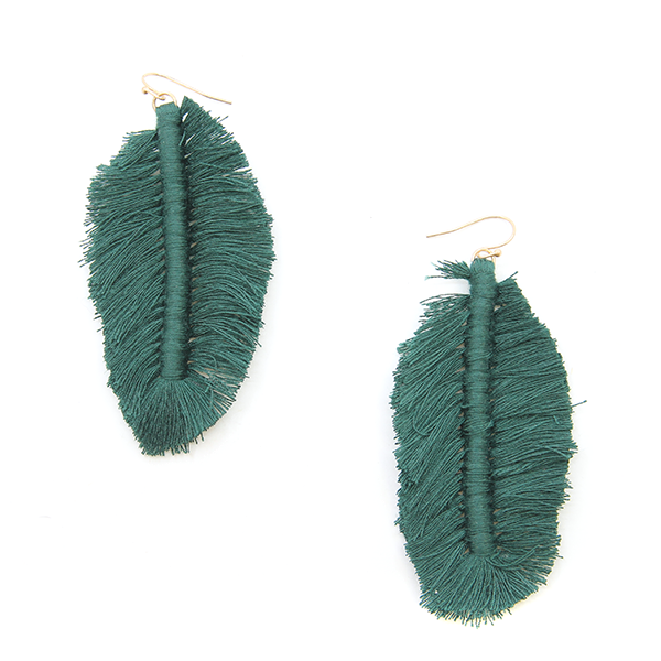 Emerald Feather Fringe Earrings