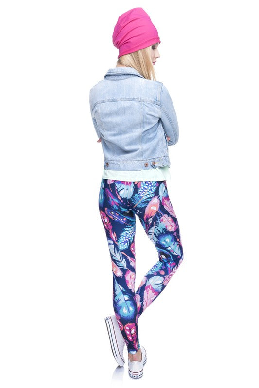 Fancy in Feathers Printed Leggings