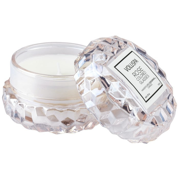 Voluspa Glass Macaron Candle-Rose Colored Glass