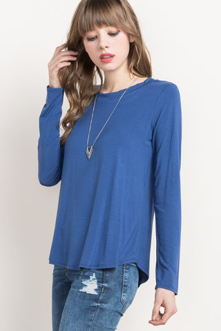 Light Navy Bamboo Round Neck Long Sleeve Top