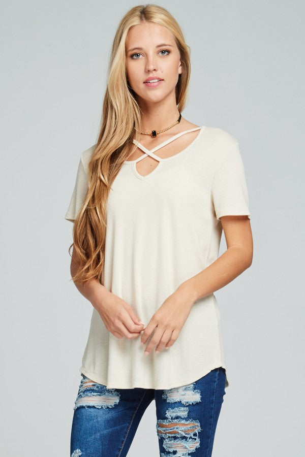 Cream Ribbed Criss Cross Detail Top