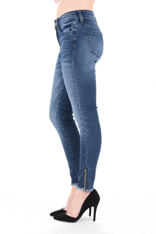 Medium Wash Zip Ankle Frayed Skinny Jeans