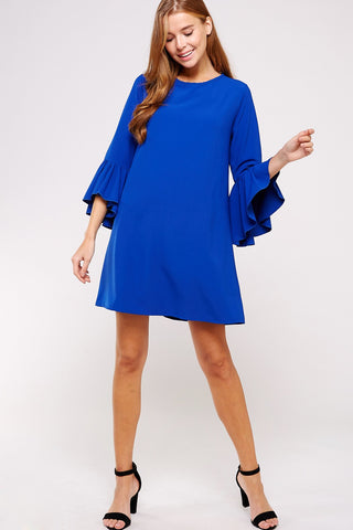 Cobalt Cutie Ruffle Sleeve Dress
