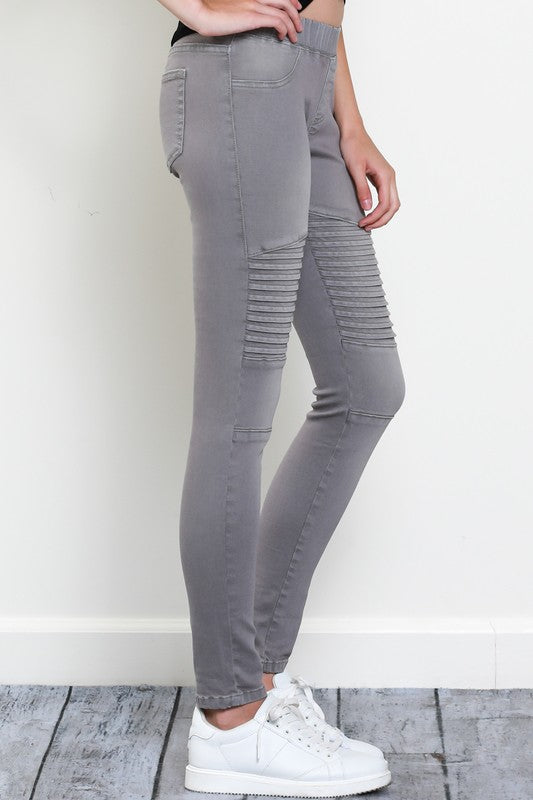 Grey Denim Moto Jeggings