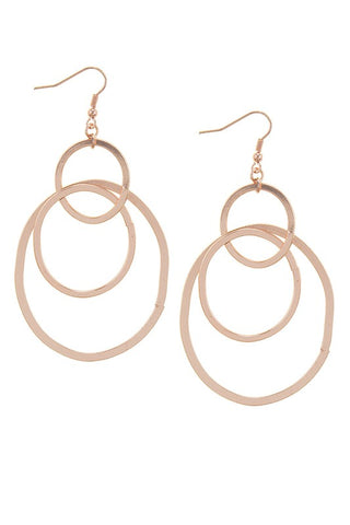 Antique Circle Layer Drop Earrings