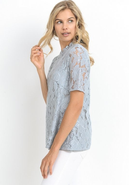 Sage Mock Neck Lace Top