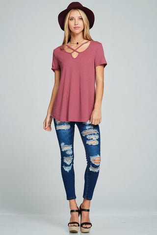 Dark Mauve Ribbed Criss Cross Detail Top