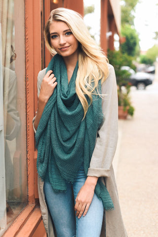 Teal Shredded Open Weave Blanket Scarf
