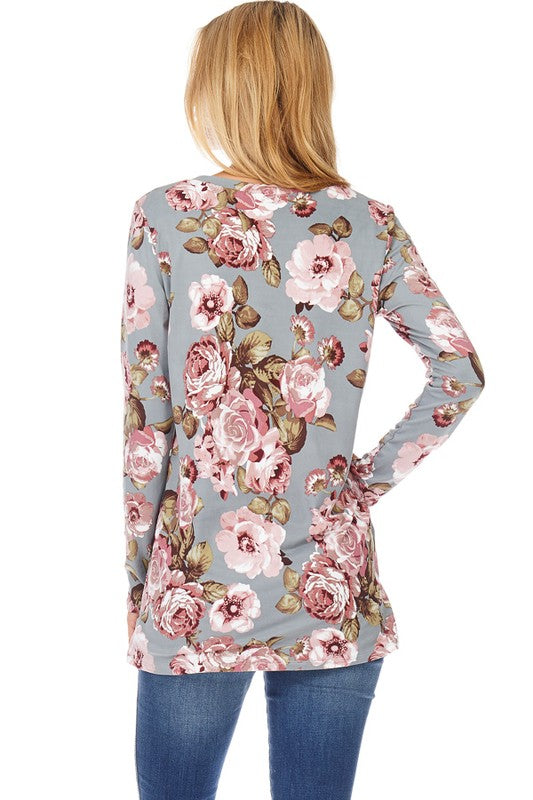 Grey Floral Long Sleeve Top