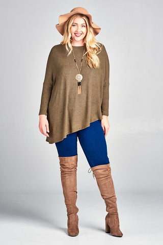 Plus Size Olive Asymmetrical Dolman Top