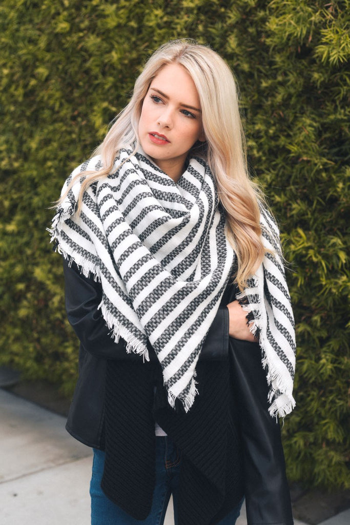 Make a Statement Striped Blanket Scarf