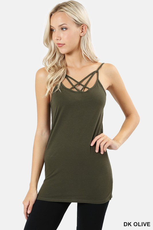 Cotton Blend Front Cage Cami