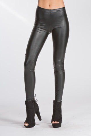Black Matte Faux Leather Leggings