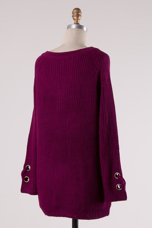 Magenta Lace-Up Detail Sweater