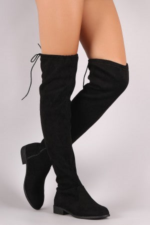 Tour the City Tie Knee High Boots-Black