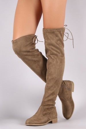 Tour the City Tie Knee High Boots-Taupe