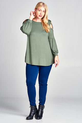Plus Size Olive Criss Cross Poppy Sleeve Top
