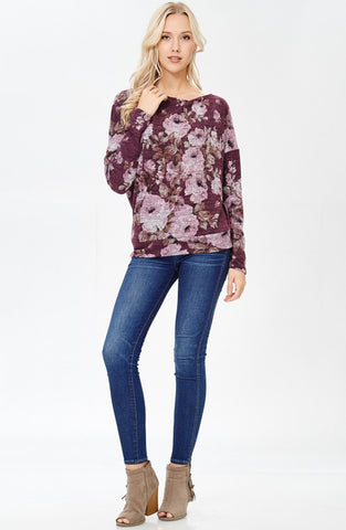 Purple Off the Shoulder Floral Print Lightweight Sweater