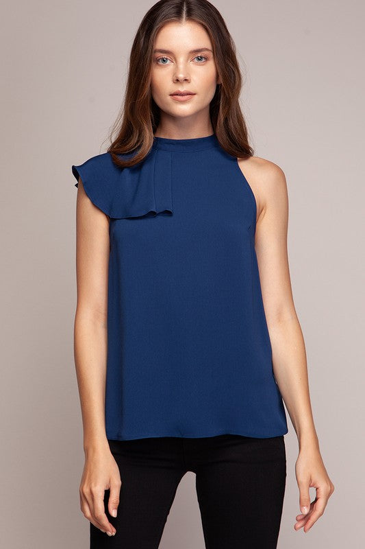 Navy Side Ruffle Detail Top