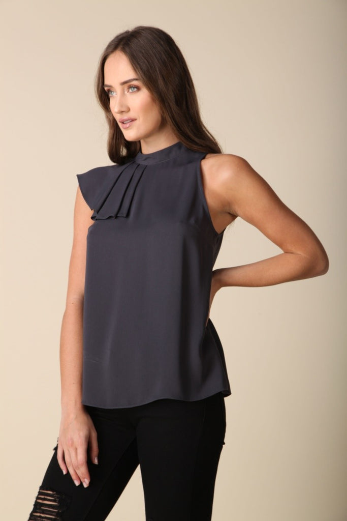 Charcoal Side Ruffle Top