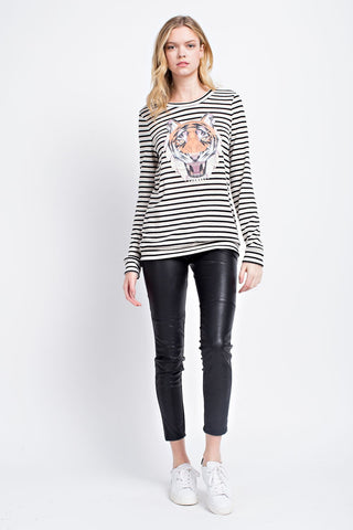 Ivory Stripe Distressed Tiger Face Top