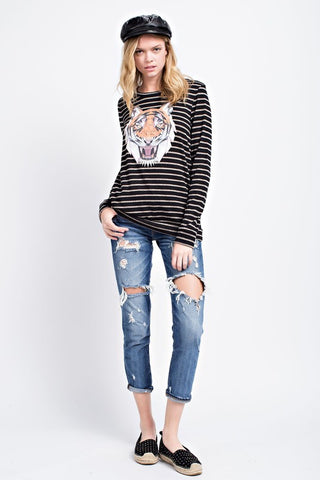 Black Stripe Distressed Tiger Face Top