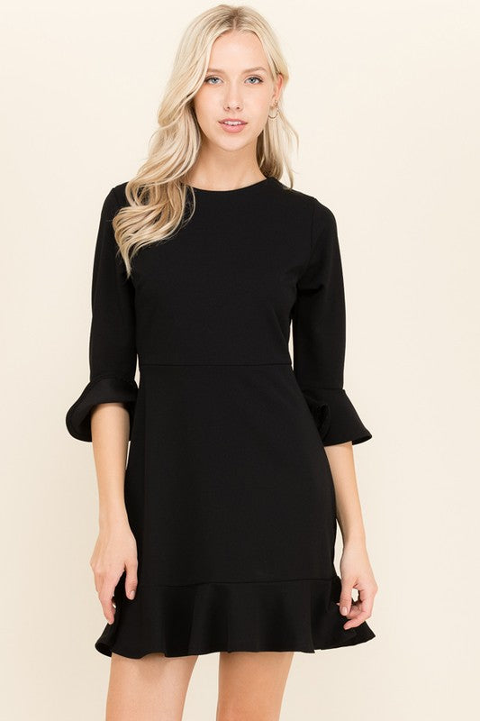 Simple Black Ruffle Sleeve Dress