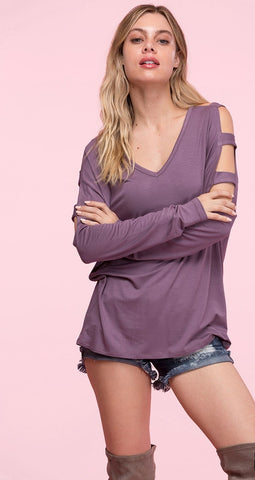 Dusty Violet Open Sleeve Detail Top